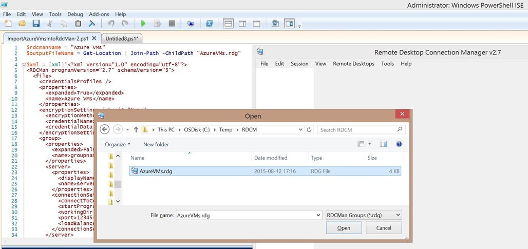 Getting all Azure VMs RDP files - AzureFabric